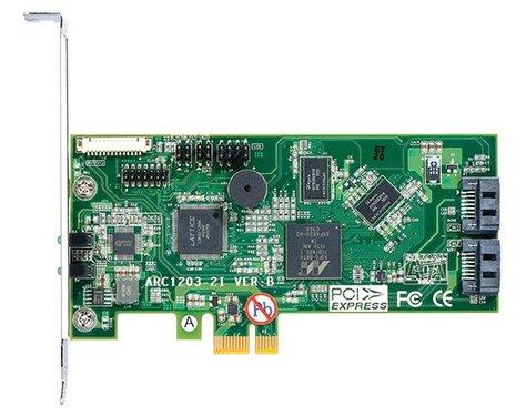 ARECA 2port 6Gb/s SATA PCIe 2.0 x1, RAID Card, 512MB Cache, 2x interní SATA - ARC-1203-2I