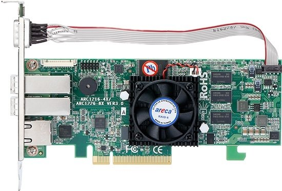 Areca ARC-1226-8X 8x port 12Gb/s SAS PCIe x8 RAID Card, 1GB Cache, 2x external SFF-8644, LP