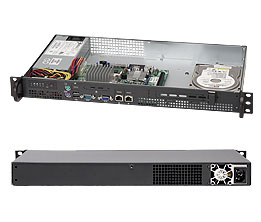 Supermicro CSE-503L-200B, chassis mini1U, 1x fixed HDD, 200W for Atom based MB - přední I/O porty