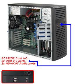 "Supermicro CSE-732D2-500B, mid-tower, 4x 3,5"" SATA/SAS, 2x 5,25"", 500W, black"