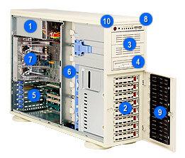 "Supermicro CSE-743T-650, 4U/tower, 8x 3,5"" SAS/SATA, 2x 5,25"", 650W, béžový"