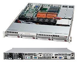 """Supermicro CSE-815TQ-R650CV, 1U, 4x 3,5"""" SAS/SATA, 1x Slim DVD ROM Drive, 650W, stříbrná"""
