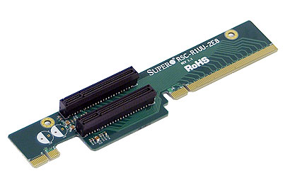 Supermicro RSC-R1UU-2E8, SXB1 SLOT TO 2x PCI-E (x8) Slot, 1U Riser Card