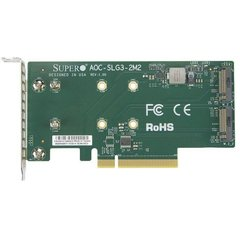Supermicro AOC-SLG3-2M2-O, PCIe Add-On Card for up to two NVMe SSDs